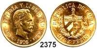 AUSLÄNDISCHE MÜNZEN,Kuba 10 Pesos 1916.  (15 g fein).  Schön 14.  KM 20.  Fb. 3.  GOLD