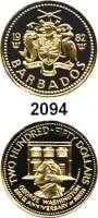 AUSLÄNDISCHE MÜNZEN,Barbados 250 Dollars 1982.  (5,94 g fein).  250. Geburtstag von George Washington.  Schön 27.  KM 35.  Fb. 7.  GOLD