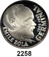 AUSLÄNDISCHE MÜNZEN,Frankreich 5. Republik seit 1958100 Francs 1985.  Emile Zola.  Schön 250.  KM 957.  Im Originaletui mit Zertifikat.