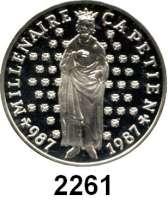 AUSLÄNDISCHE MÜNZEN,Frankreich 5. Republik seit 195810 Francs 1987.  Hugo Capet.  Schön 254.  KM 961.  Im Originaletui mit Zertifikat.