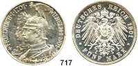 R E I C H S M Ü N Z E N,Preussen, Königreich Wilhelm II. 1888 - 19185 Mark 1901.      200 Jahre Königreich.
