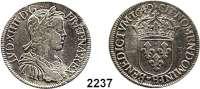 AUSLÄNDISCHE MÜNZEN,Frankreich Ludwig XIV. 1643 - 17151/2 Ecu 1649 H, La Rochelle.  13,5 g.   Duplessy 1470.  KM 164.9