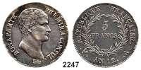 AUSLÄNDISCHE MÜNZEN,Frankreich Napoleon 1. Konsul 1799 - 18045 Francs AN 12 (1803-1804) A, Paris.  KM 659.1  Gadoury 166.