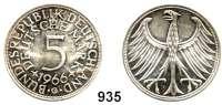 B U N D E S R E P U B L I K,Verprägungen und Kuriositäten 5 Mark 1966 G.  Jaeger 387.  Rand glatt.