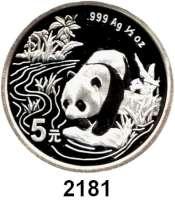 AUSLÄNDISCHE MÜNZEN,China Volksrepublik seit 19495 Yuan 1997.  (1/2 Unze Silber).  Panda in überfluteter Landschaft  Schön 1000.  KM 993.  In Kapsel.