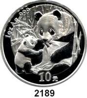 AUSLÄNDISCHE MÜNZEN,China Volksrepublik seit 194910 Yuan 2005 (Silberunze).  Sitzender Panda mit stehendem Jungtier.  Schön 1467.  KM 1589.