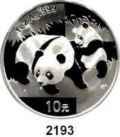 AUSLÄNDISCHE MÜNZEN,China Volksrepublik seit 194910 Yuan 2008 (Silberunze).  Panda mit Jungtier.  Schön 1669.  KM 1814.
