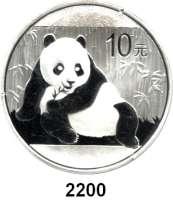 AUSLÄNDISCHE MÜNZEN,China Volksrepublik seit 194910 Yuan 2015 (Silberunze).  Panda vor Bambus.