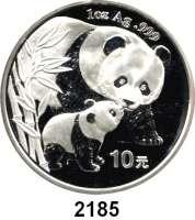 AUSLÄNDISCHE MÜNZEN,China Volksrepublik seit 194910 Yuan 2004 (Silberunze).  Pandamutter beim Liebkosen eines Jungtieres.  Schön 1416.  KM 1528.