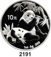 AUSLÄNDISCHE MÜNZEN,China Volksrepublik seit 194910 Yuan 2007 (Silberunze).  Panda mit Jungtier beim Verzehr von Bambus.  Schön 1548.  KM 1706.
