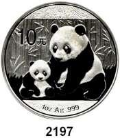 AUSLÄNDISCHE MÜNZEN,China Volksrepublik seit 194910 Yuan 2012 (Silberunze).  Panda mit Jungtier.  Schön 1889.  KM 2029.