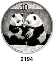 AUSLÄNDISCHE MÜNZEN,China Volksrepublik seit 194910 Yuan 2009 (Silberunze).  Zwei Pandas.  Schön 1716.  KM 1865.