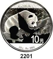 AUSLÄNDISCHE MÜNZEN,China Volksrepublik seit 194910 Yuan 2016.  Panda auf Baum.