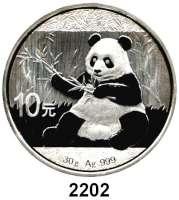 AUSLÄNDISCHE MÜNZEN,China Volksrepublik seit 194910 Yuan 2017.  Panda mit Zweig.