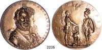 AUSLÄNDISCHE MÜNZEN,Frankreich Heinrich IV. 1589 - 1610Große Bronzemedaille o.J. (Dupre, spätere Prägung).  Heinrich IV. und Maria Augusta.