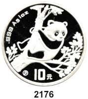 AUSLÄNDISCHE MÜNZEN,China Volksrepublik seit 194910 Yuan 1994 P (Silberunze).  Panda in einem Baum auf Aussichtsposten.  Schön 622.  KM 616  In Kapsel.  Im Originaletui mit Zertifikat.