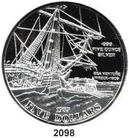 AUSLÄNDISCHE MÜNZEN,Bermuda 5 Dollars 1987 (Silber, 5 Unzen).  Segelschiff