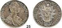 Römisch Deutsches Reich,Haus Habsburg Maria Theresia 1740 - 17801/2 Taler 1763 K-B, Kremnitz.  13,9 g.  Herinek 730.