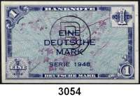 P A P I E R G E L D,BUNDESREPUBLIK DEUTSCHLAND 1 Deutsche Mark 1948.  Mit B-Stempel.  Ros. WBZ-14 a.