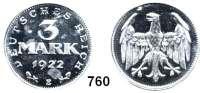 R E I C H S M Ü N Z E N,I.Weltkrieg und Inflation 3 Mark 1922 E.
