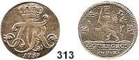 Deutsche Münzen und Medaillen,Pommern Adolf Friedrich von Schweden 1751 - 17714 Gute Groschen 1759 O.H.K., Stralsund.  3,7 g.  Schön 16.  Ahlström 250 a.