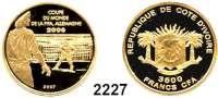 AUSLÄNDISCHE MÜNZEN,Elfenbeinküste 3500 Francs 2007 (4,55 g fein).  Fußball WM 2006 - Elfmeterschießen.  GOLD