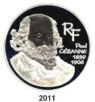 AUSLÄNDISCHE MÜNZEN,E U R O  -  P R Ä G U N G E N Frankreich20 Euro 2006.  (Silber, 5 Unzen).  100. Todestag von Paul Cezanne