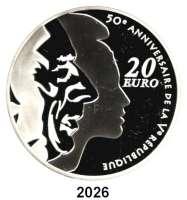 AUSLÄNDISCHE MÜNZEN,E U R O  -  P R Ä G U N G E N Frankreich20 Euro 2008.  (Silber, 5 Unzen).  50 Jahre Fünfte Republik - Charles de Gaulle.  Schön 992.  KM 1540.  Im Originaletui mit Zertifikat.