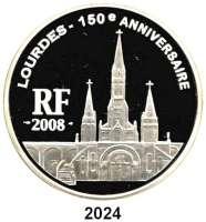 AUSLÄNDISCHE MÜNZEN,E U R O  -  P R Ä G U N G E N Frankreich20 Euro 2008.  (Silber, 5 Unzen).  150. Jahrestag der Marienerscheinung von Lourdes - Basilika in Lourdes.  Schön 980.  KM 1563.  Im Originaletui mit Zertifikat.