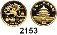 AUSLÄNDISCHE MÜNZEN,China Volksrepublik seit 19495 Yuan 1989.  (1/20 UNZE  1,55 g. fein).  Panada mit Bambuszweig.  Schön 219.  KM 183.  Fb. B 8.  Verschweißt.  GOLD