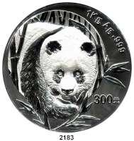 AUSLÄNDISCHE MÜNZEN,China Volksrepublik seit 1949300 Yuan 2003.  (1 Kilogramm Silber).  Panada von vorn.  Schön 1368.  KM 1473.  Originaletui mit Zertifikat.