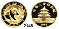 AUSLÄNDISCHE MÜNZEN,China Volksrepublik seit 194950 Yuan 1988.  (1/2 UNZE 15,55 g. fein).  Panda.  Schön 180.  KM 186.  Fb. B 5.  In Kapsel.  GOLD