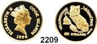 AUSLÄNDISCHE MÜNZEN,Cook Islands 100 Dollars 1996.  (7,78 g. fein).  Yellowstone National Park - Graubär.  Schön 379.  KM 388.  Fb. B 11.  GOLD