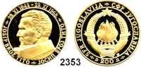 AUSLÄNDISCHE MÜNZEN,Jugoslawien 200 Dinara 1968.  (14,07 g fein).  Josip Broz