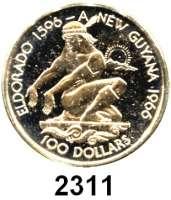 AUSLÄNDISCHE MÜNZEN,Guyana 100 Dollars 1976 (2,87 g fein).  10 Jahre Unabhängigkeit. Schön 46.  KM 46.  Fb. 1.  In Originalklapptasche.  GOLD
