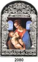 AUSLÄNDISCHE MÜNZEN,Andorra 15 Diners 2011.  Kunst der Renaissance - Stillende Madonna in Farbe (Tampondruck).  Schön 401.  KM 327.  Im Originaletui mit Zertifikat.
