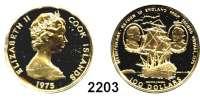 AUSLÄNDISCHE MÜNZEN,Cook Islands 100 Dollars 1975 (8,64 g fein).  Portäts von James Cook und George III. vor Segelschiff.  Schön 15.  KM 13.  Fb. 2.  Im Originaletui mit Zertifikat.  GOLD