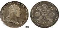 Römisch Deutsches Reich,Haus Habsburg Franz II. 1792 - 1806 (1835)Kronentaler 1793 A, Wien.  29,4 g.  Dav. 1180.  Herinek 463.