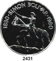 AUSLÄNDISCHE MÜNZEN,Panama 20 Balboas 1980.  Simon Bolivar zu Pferd.  Schön 66.  KM 65.