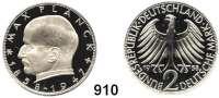 B U N D E S R E P U B L I K, 2 Mark 1958 J.    Max Planck    Auflage 100 Stück.