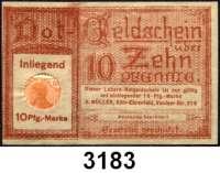 P A P I E R G E L D   -   N O T G E L D,Rheinland/Rheinprovinz KölnH. Müller. Köln-Ehrenfeld.  10 Pfennig o.D.  Labora-Briefmarkengeld.  Tieste 3565.035.01.