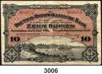 P A P I E R G E L D,D E U T S C H E      K O L O N I E N Deutsch-Ostafrika10 Rupien 15.6.1905.  Ros. DOA-2.