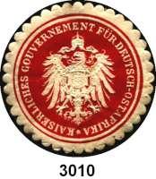 P A P I E R G E L D,D E U T S C H E      K O L O N I E N Deutsch-OstafrikaSiegelmarke :  Kaiserliches Gouvernement für Deutsch-Ostafrika.  39 mm.