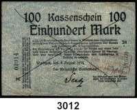 P A P I E R G E L D,D E U T S C H E      K O L O N I E N Deutsch - Südwestafrika100 Mark 8.8.1914.  Ros. DSW-5 b.  Strichentwertung.  Roter Kastenstempel : Kolonialhauptkasse
