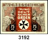 P A P I E R G E L D   -   N O T G E L D,Schleswig - Holstein KielJungdeutscher Orden.  Bruderschaft Kiel.  75 Pfennig.  1, 1,50, 2 und 3 Mark 0.D.(1921).  G/M 694.1.  LOT 5 Scheine