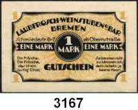 P A P I E R G E L D   -   N O T G E L D,Bremen BremenLaubfrosch-Weinstuben.  1 Mark o.D.  G/M 174.1a.