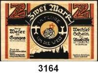 P A P I E R G E L D   -   N O T G E L D,Bremen BremenBund der Auslandsdeutschen.  50 Pfennig, 1 und 2 Mark 1.10.1921.  G/M 164.1a.  LOT 3 Scheine.