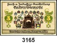 P A P I E R G E L D   -   N O T G E L D,Bremen BremenFach- und Industrieausstellung.  1, 2 und 3 Mark (je mit Nadelloch) 10.-20.8.1922.  G/M 168.1.  Mit Originaltüte.  LOT 4 Stück.