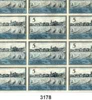 P A P I E R G E L D   -   N O T G E L D,Ostpreussen LyckStadt.  5 Pfennig 1.10.1920.  G/M 849.1 b.  Ohne Kennnummer.  Bogenteil mit 12 Scheinen.