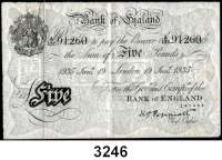 P A P I E R G E L D,AUSLÄNDISCHES  PAPIERGELD GroßbritannienFalsche Pfundnoten - Operation Bernhard.   5 Pfund 19. Januar 1935 London.  Pick 335 a.